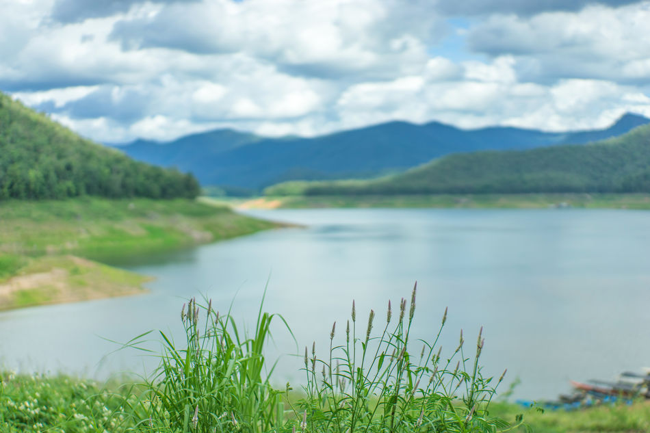 Beauty In Nature Chiang Mai | Thailand Cloud - Sky Dam Day Grass Green Color Lake Landscape Mae Ngat Mountain Mountain Range Nature No People Outdoors Scenics Sky Thai Thailand Tranquil Scene Water