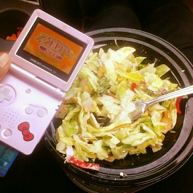 Typical #lunch break for me. I'm eating a #chickensalad and playing Zelda (oracle of ages). Lowfat Thelegendofzelda Lunch Wtfgamersonly Chicken Lowcalorie Lunchtime Eatright Salad Loz Foodie Nintendolife Lunchbreak Gameboyadvance Gamer Wtfgo Gameboy Gameboyadvancesp Lowcarb Oracleofages Foodstagram Lowcal Igersnintendo Ninstagram Eatclean Eatforabs LegendOfZelda  Tloz Chickensalad Saladporn