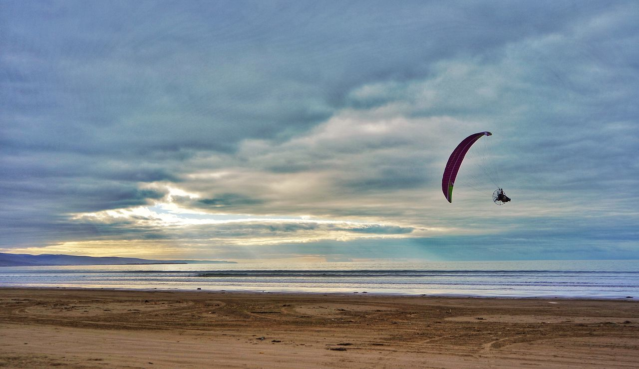 Paramotoring Northwales Beach Black Rock Sands Snowdonia Morfa Bychan Sport Actionphotography Activity Midair Flying Motor Clouds Morning Sky