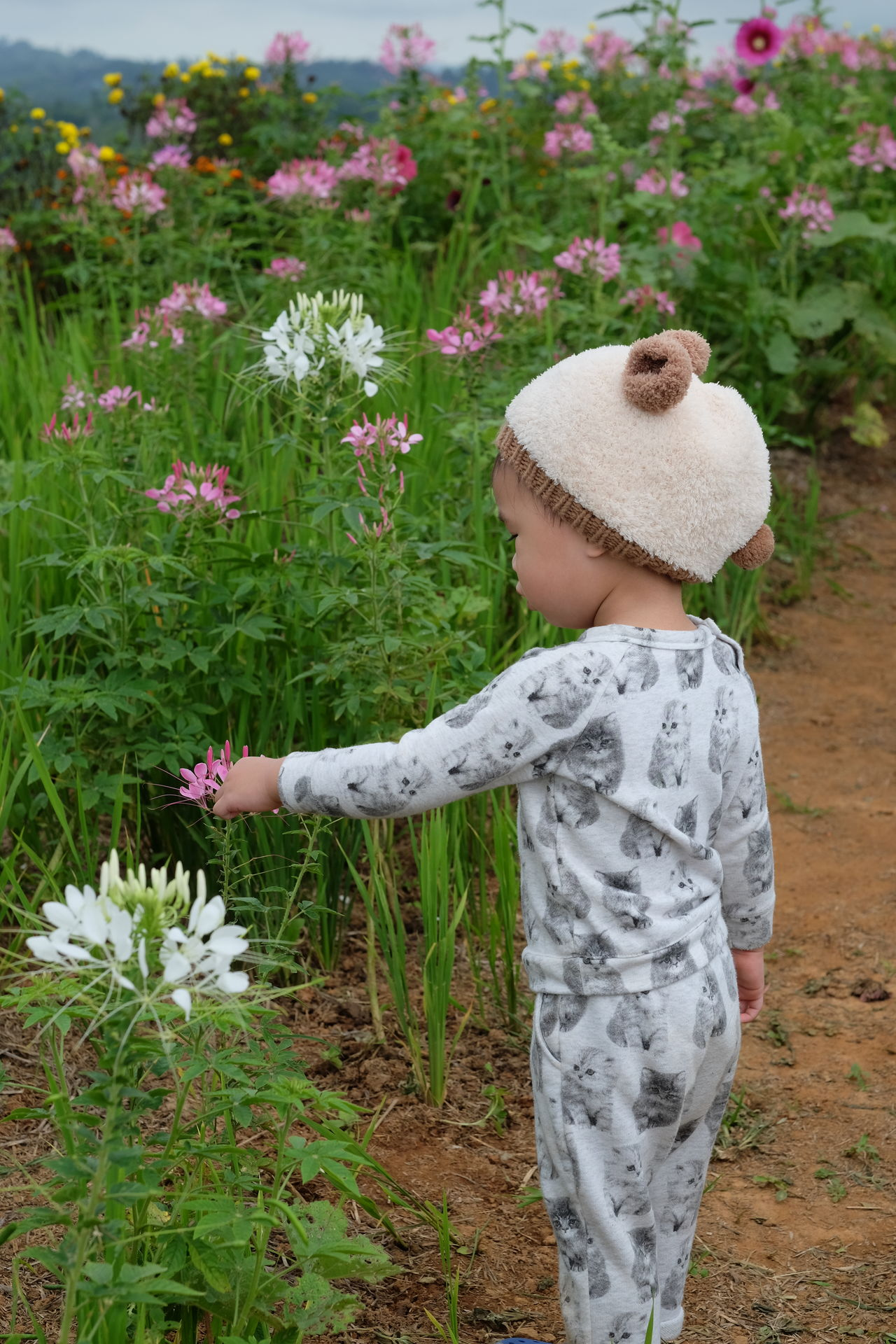 Beauty In Nature Childhood Day Flower Fragility Freshness Growth Hat Nature One Person Outdoors People Plant Real People Sun Hat