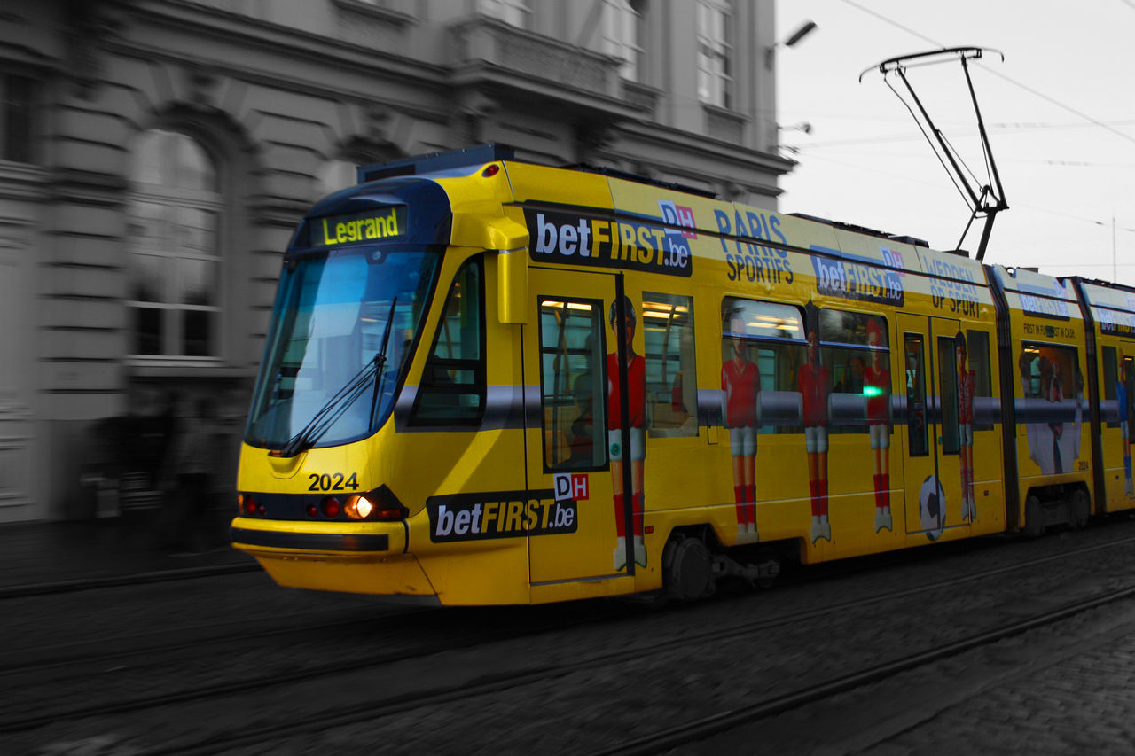 Tramways to Brussels Architecture Belgium Brussel Cable Car City Land Vehicle Mode Of Transport Night No People Outdoors Public Transportation Train - Vehicle Tram Transportation Yellow