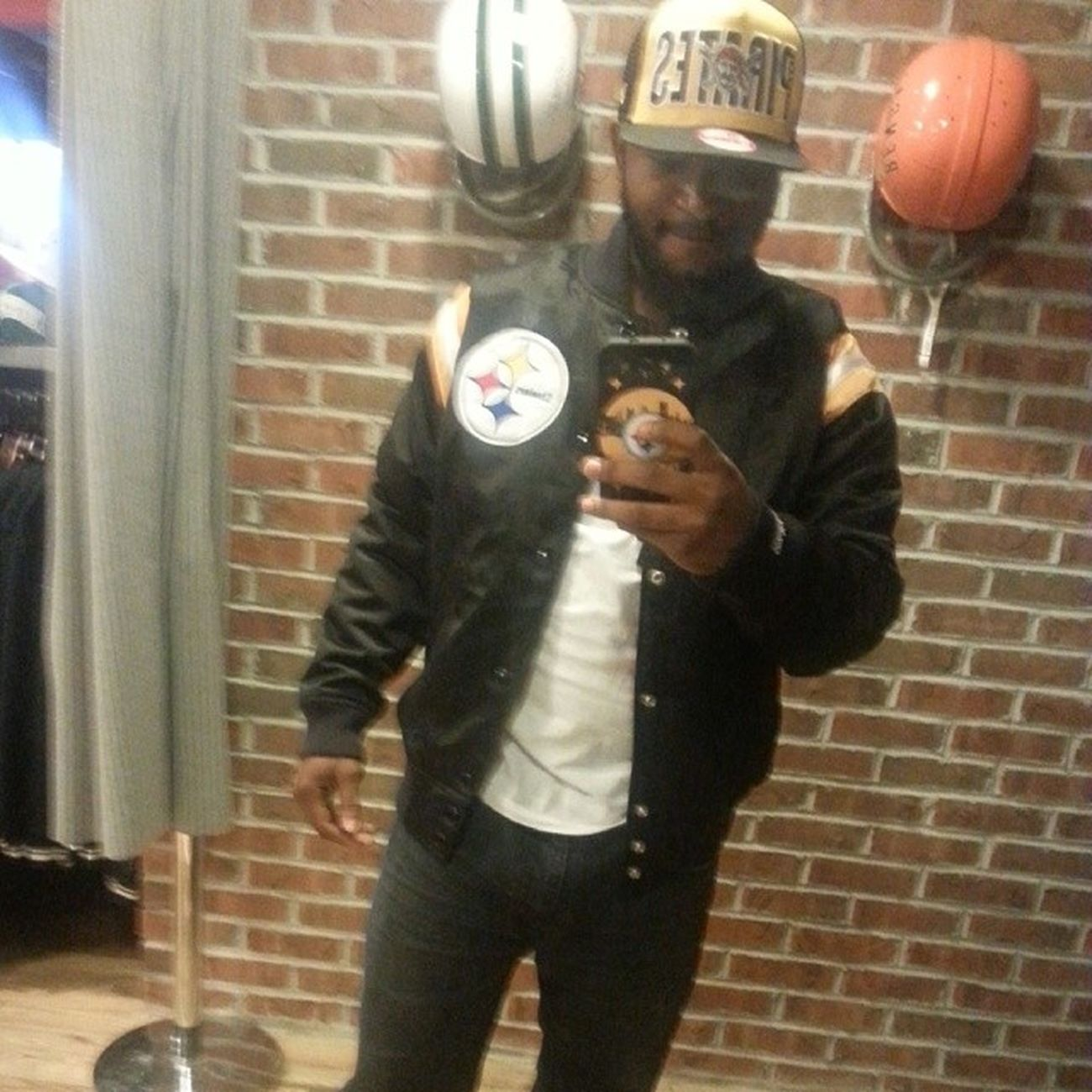 Wardrobe Change... Mitchell &Ness SteelersJacket PiratesHat wit da matching J's