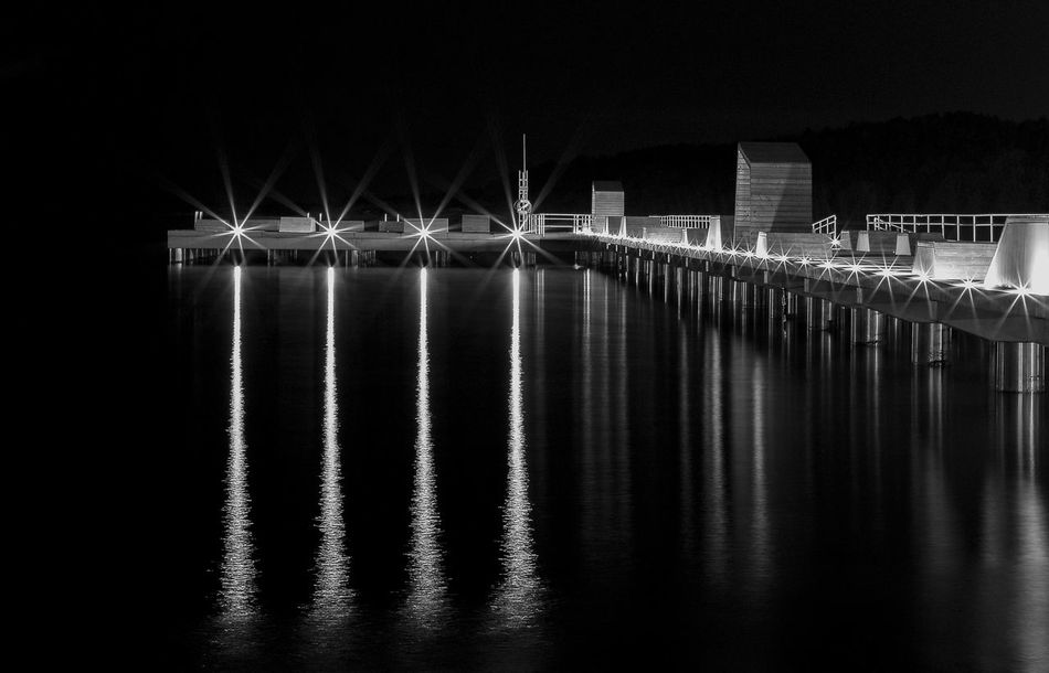 Night Photography Night View Night Lights Night Light Nightshot Eyeem Bnw Best Of The Day EyeEm Best Pics EyeEm Best Shots Our Best Pics Around You Askim Gothenburg_photographer_ Gothenburg_bw Gothenburg, Sweden Blackandwhite Photography Black&white Photos Around You Pier Lights On The Wather Reflection_collection Reflections In The Water Reflections Reflection No People Showcase May