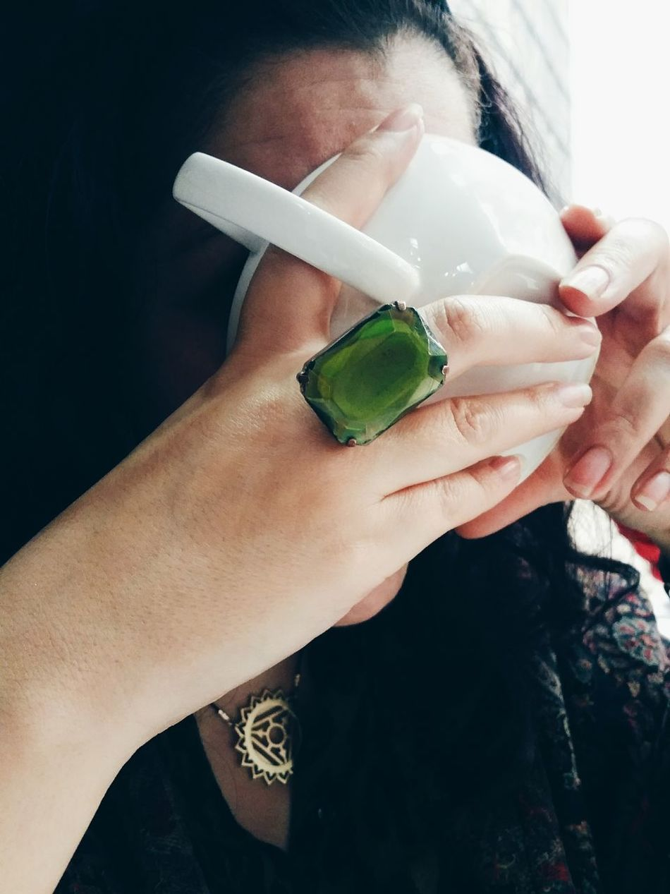 Afternoon tea date Tea Tea Time Drink Drinking Hand Hands Jewellery Ring Green Face Covered | IG: iDJPhotography