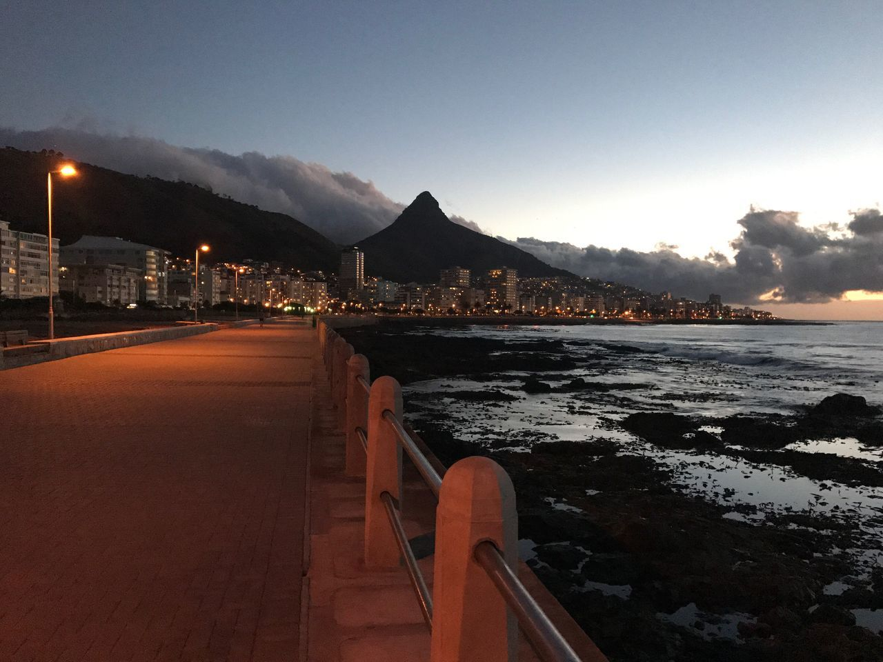 City by night Water Sky Mountain Beauty In Nature Sea Point Adapted To The City Sea Point Promenade City Lights At Night