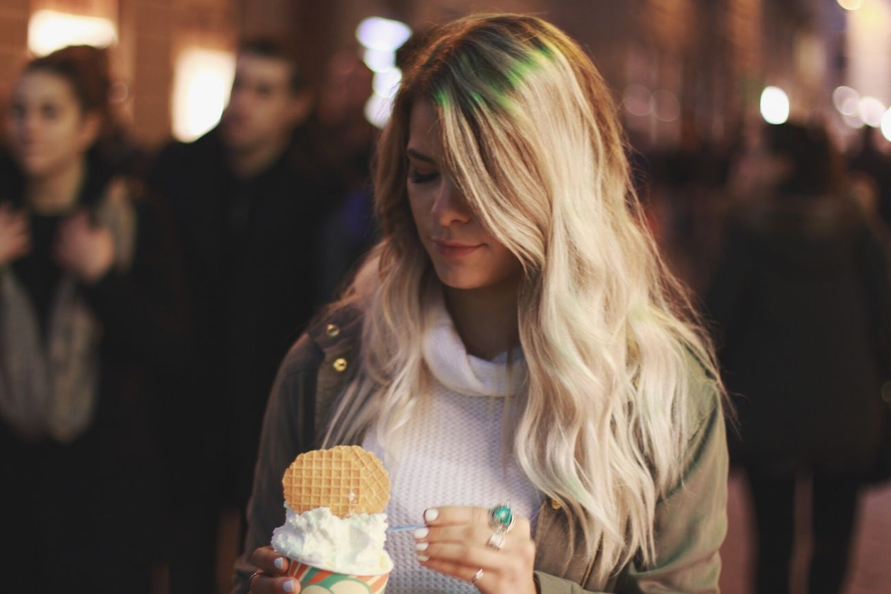 italian gelato Italy Gelato Girl Blond Hair Focus On Foreground One Person Young Women Night Real People Close-up Beautiful Woman Indoors  One Woman Only One Young Woman Only People Adults Only Adult