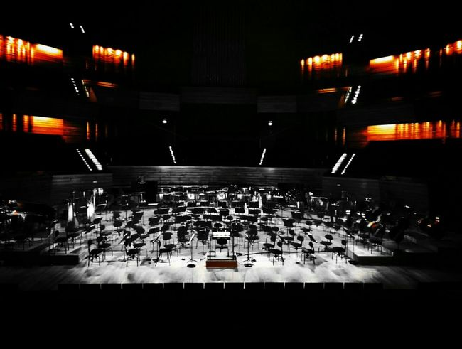 Architecture Illuminated Indoors Concert Hall Music Radio France Modern Architecture Instruments Concert Repetition Auditorium Lights Illuminated Indoors  Architecture Honor7 Paris, France
