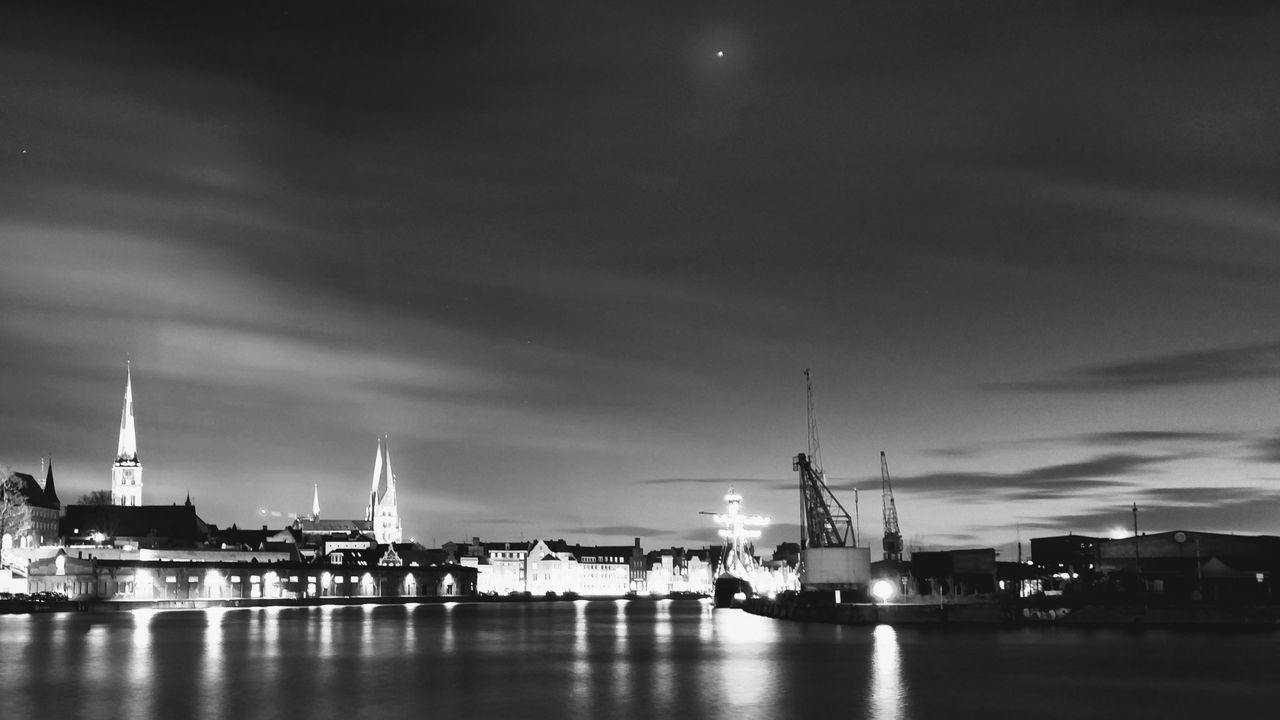 Architecture Black And White Blackandwhite City Illuminated Long Exposure Luebeck Lübeck Night No People Outdoors River Sky Skyline Travel Destinations Water