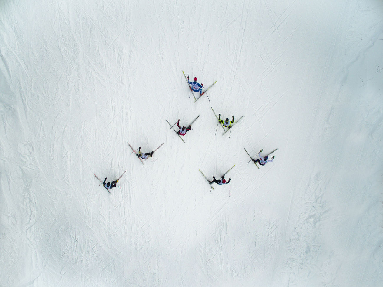 Day Flying Flying High Large Group Of People Outdoors People Race Ski Skiing Snow Sport Winter