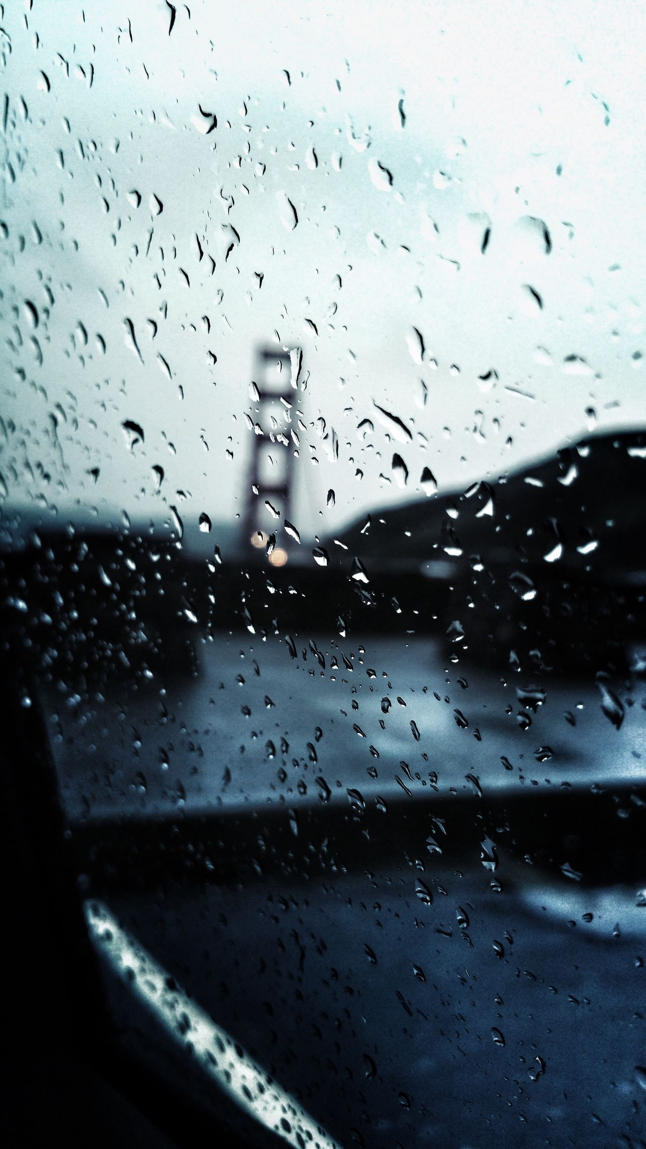 Golden Gate Bridge, San Francisco, California.🌉🌧 Golden Gate Bridge San Francisco California Drop Wet Rain RainDrop Sadness Loneliness Lonely Bridge No People Close-up Car Sky Cold Empathy Thinking Land Vehicle