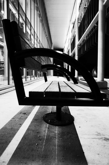 black and white bench Blackandwhite Monochrome Close Up Contrast Shades Shadow Bench Outdoors Canada Architecture Built Structure No People Indoors  Shadow Day