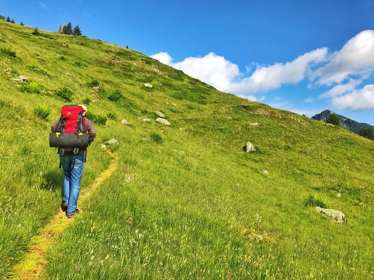 Real People Rear View Grass Sky Green Color Mountain Beauty In Nature Nature Hiking Scenics Backpack Cloud - Sky One Person Lifestyles Walking Day Leisure Activity Tranquil Scene Men Full Length