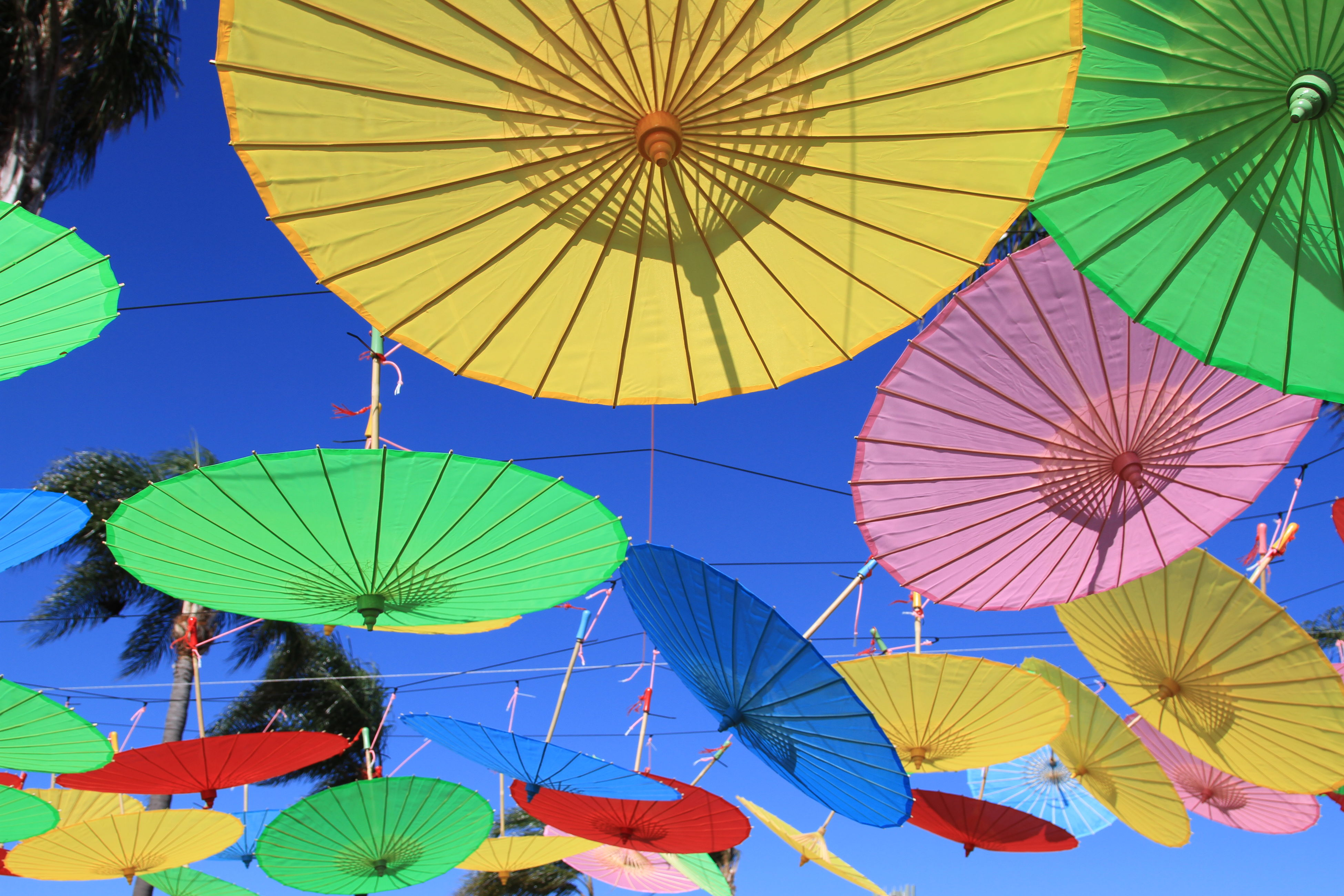 low angle view, protection, umbrella, multi colored, hanging, group of objects, close-up, colorful, sunshade, repetition, shelter, directly below, day, parachute, variation, outdoors, sky, arrangement, adventure, large group of objects, no people