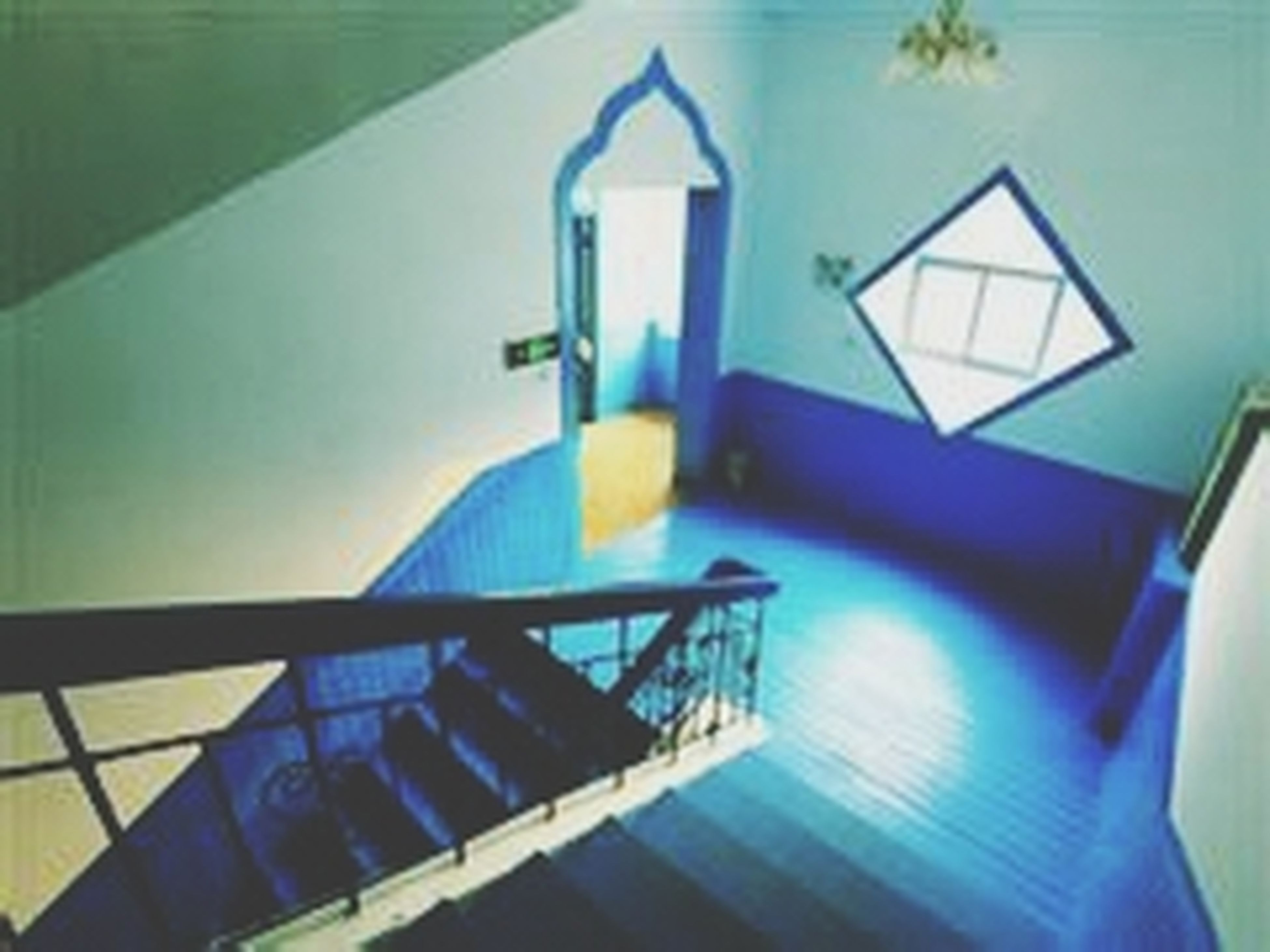 architecture, built structure, building exterior, low angle view, railing, blue, steps, staircase, steps and staircases, window, house, no people, day, building, sunlight, indoors, reflection, balcony, residential structure