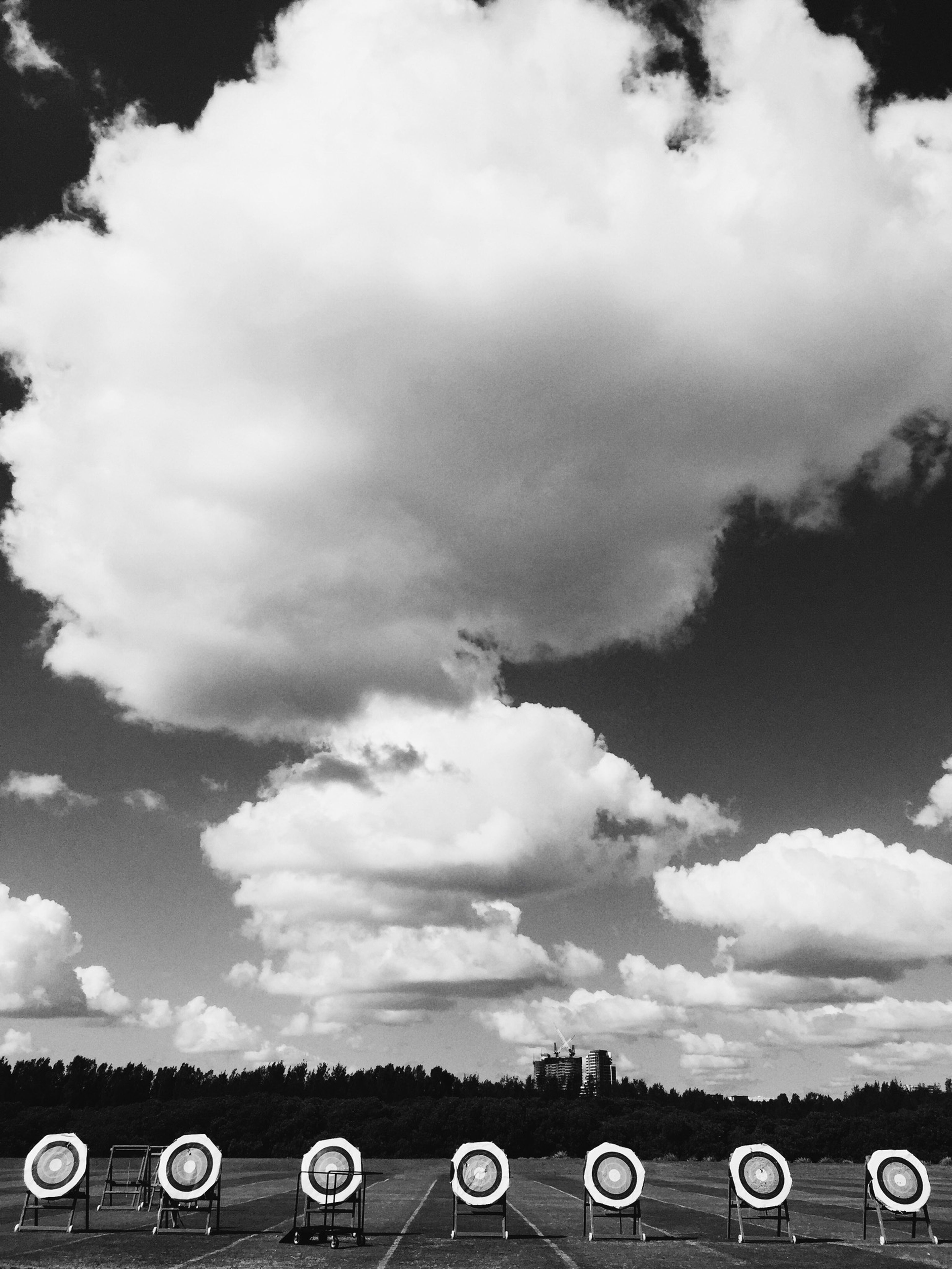 Clouds over the archery range.