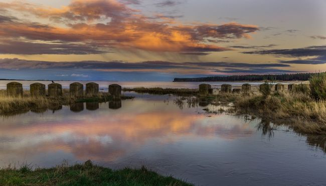 Scotland Scenic Ww2 History Through The Lens  Sunset RiverTay Anti-tank Reflections Reflections In The Water
