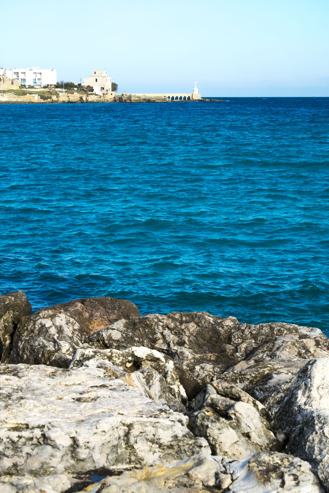 Architecture City Day Horizon Over Water Italy Nature No People Otranto Outdoors Puglia Rock - Object Salento Sea Sky Water