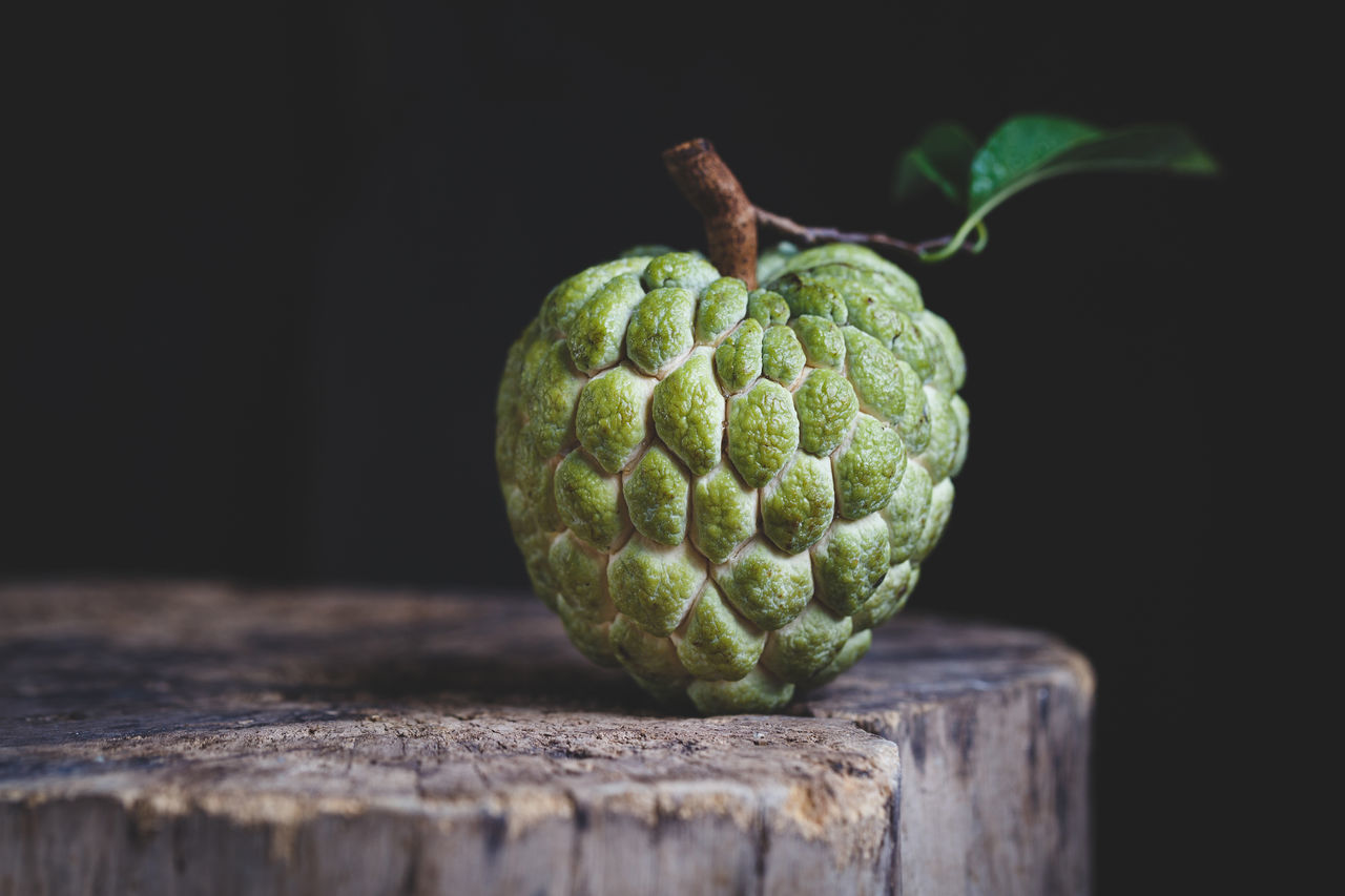 Custard apple on the old wood ASIA Bamboo Basket Burlap Custard Apple Dark Food Food And Drink Fresh Fruit Green Heathy Food Leaf Mãng Cầu Nature Old Wood Plant Raw Sweet Tasty Vietnam Vietnamese Fruit