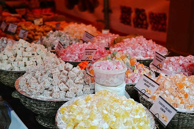Turkish Delight Nikon D3200 35mm Food And Drink Freshness Food Large Group Of Objects Market Stall Selective Focus Variation Close-up Consumerism Vibrant Color Fair Stalls Turkish Delight Street Photography