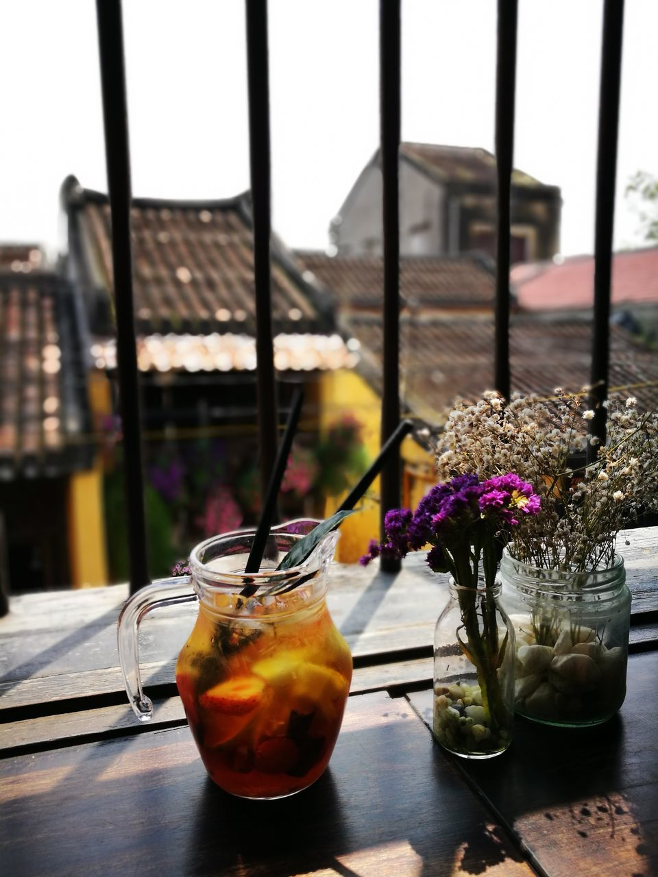 drink, table, drinking glass, refreshment, freshness, food and drink, flower, close-up, no people, alcohol, indoors, day, nature, sky