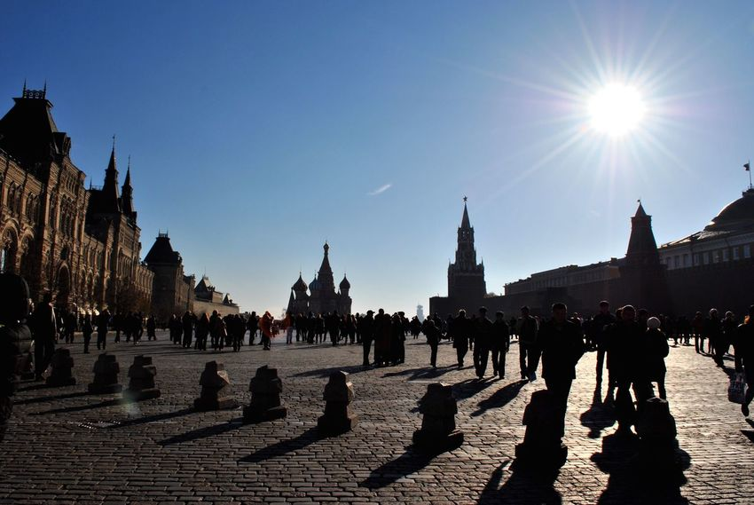 Architecture Sunlight Large Group Of People Spirituality Walking Sunny Clear Sky Moscow Red Square Kuranty Clock Watch St Basil's Cathedral Gum Gum Russia Shadow Motion Go Perspective Point Of View