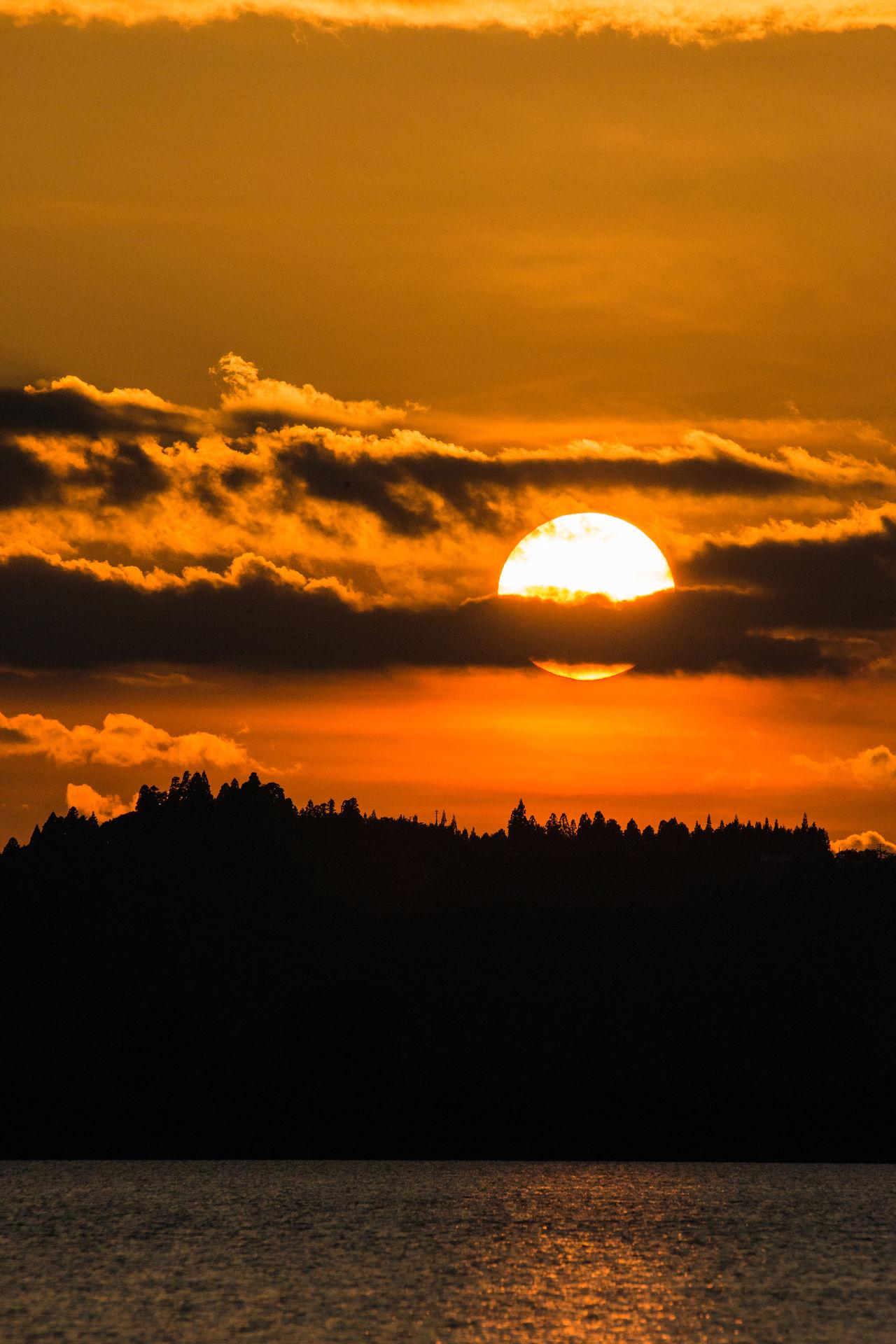 Dusk Of Summer Evening Glow Of Fukushima Orange Sky Solar Sunset_collection Orange Color Sunset 猪苗代の夕景