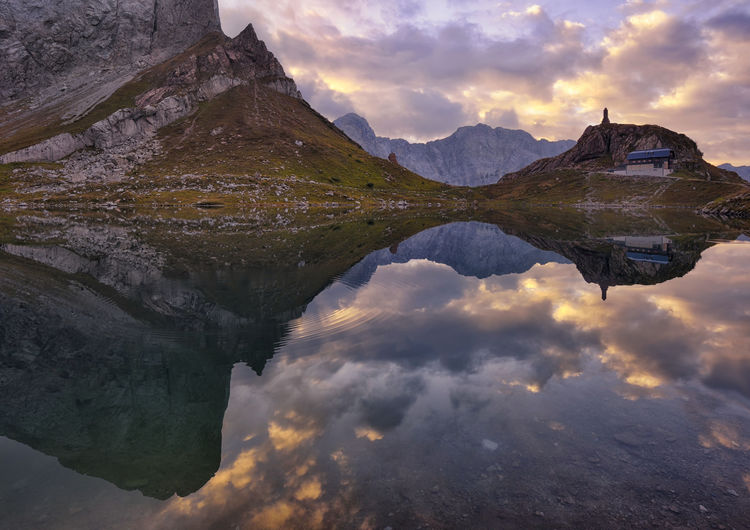 Austria Beauty In Nature Cloud - Sky Cloudy Forni Avoltri Friuli Venezia Giulia Geology Italy Italy❤️ Lago Di Volaia Lake Mountain Reflection Rock Formation Sky Tourism Tranquil Scene Udine Water