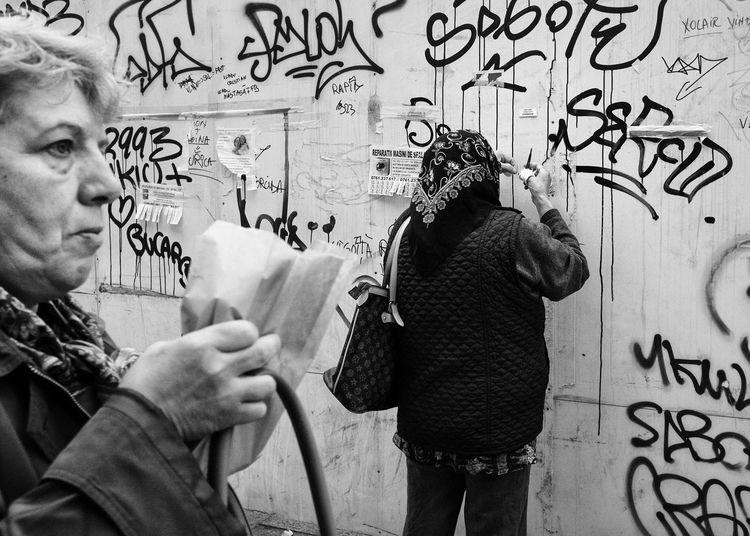 B&w Black And White Black&white Candid Corner Graffiti Moment Moments Monochrome Standing Story Urban Urban Geometry Women