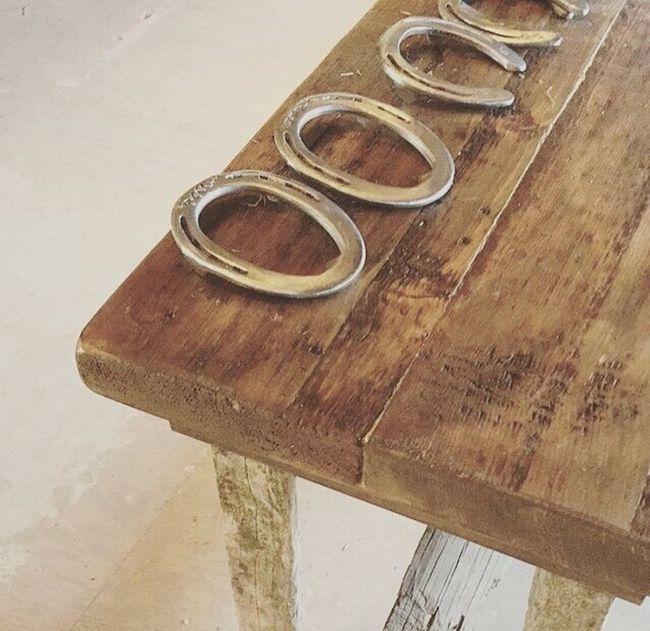 Horseshoes Horseshoe Rugged Rustic Wood Woodtable