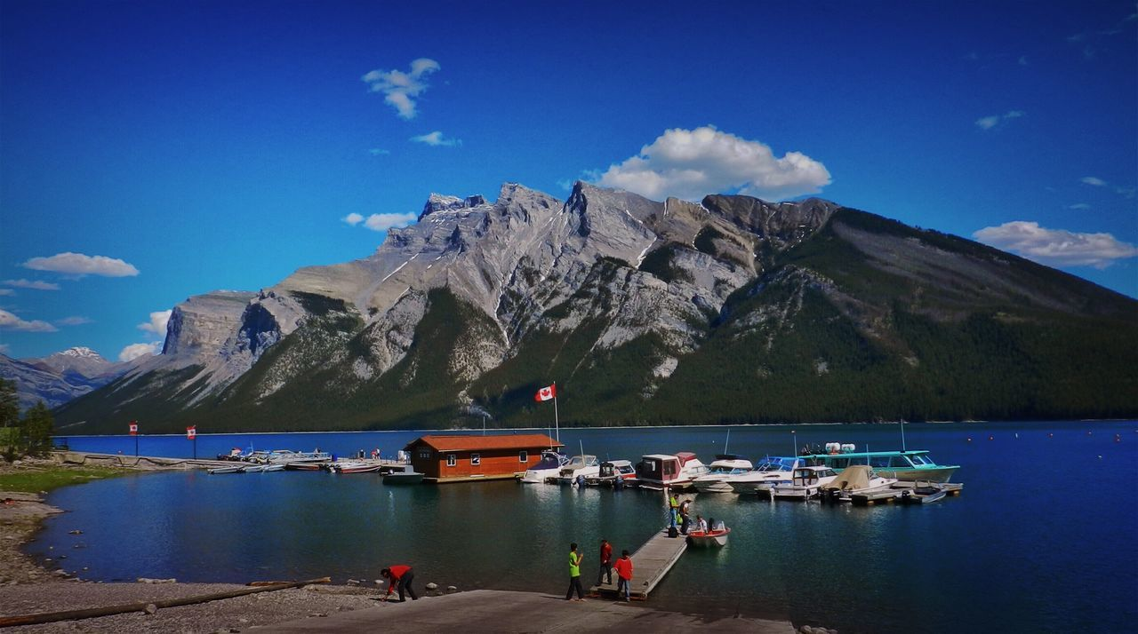 Alberta, Canada Beauty In Nature Blue Canada Cloud - Sky Day Mountain Mountain Range Nature Nautical Vessel No People Outdoors Scenics Sea Sky Sunlight Tranquil Scene Tranquility Transportation Travel Destinations Water
