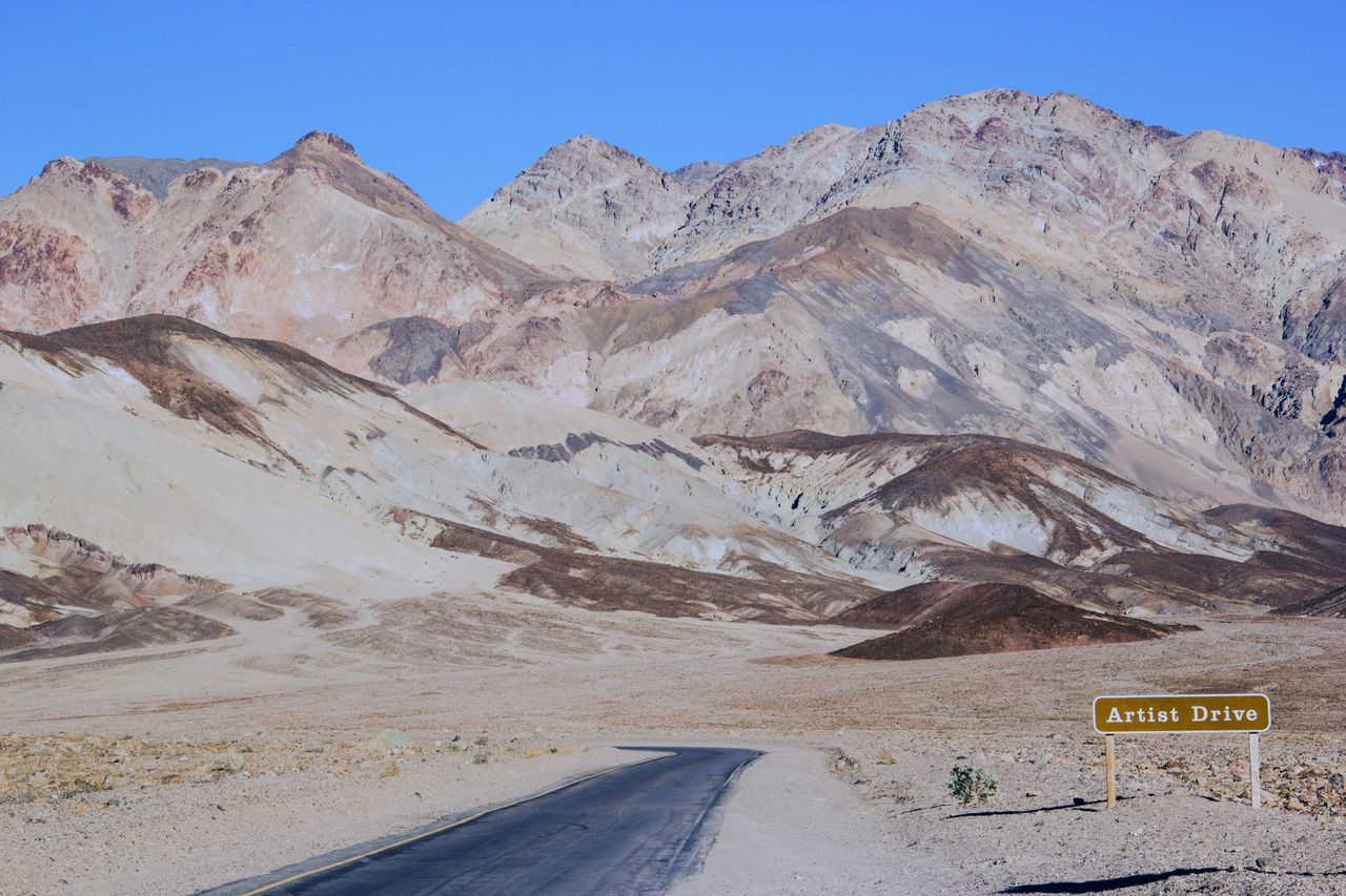 Arid Climate Artist Driv Blue Sky Clear Sky Day Death Valley Death Valley National Park Geology Landscape Landscapes Mountain Mountain Range Mountains My Year My View Nature No People Outdoors Physical Geography Road Scenic Drive Scenics Tourism Tourist Attraction  Tourist Destination