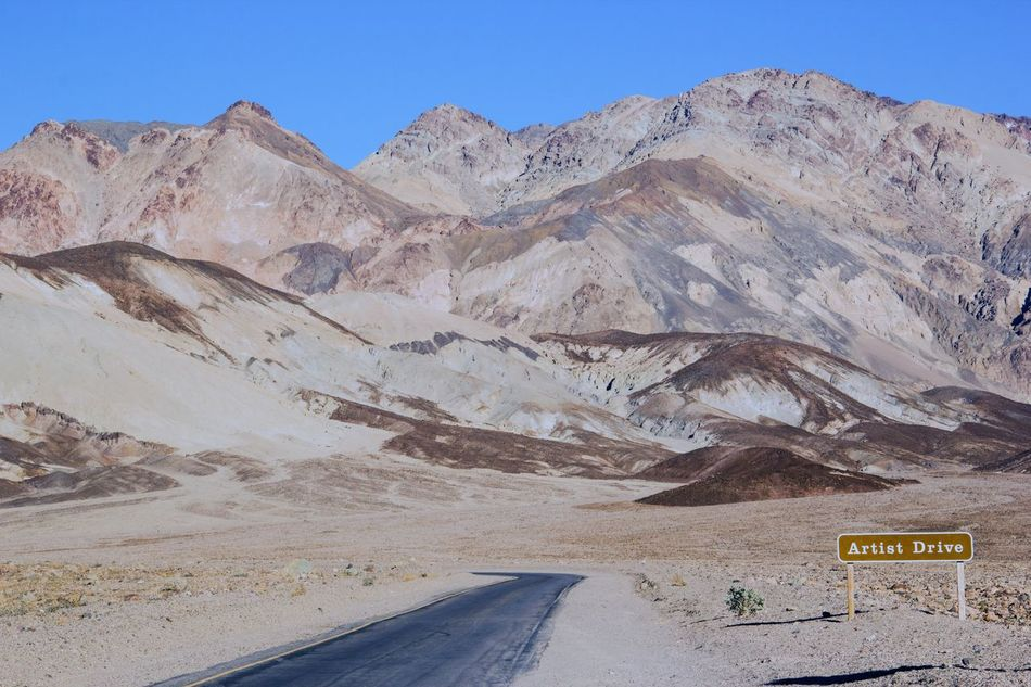 Arid Climate Artist Driv Blue Sky Clear Sky Day Death Valley Death Valley National Park Geology Landscape Landscapes Mountain Mountain Range Mountains My Year My View Nature No People Outdoors Physical Geography Road Scenic Drive Scenics Tourism Tourist Attraction  Tourist Destination Miles Away