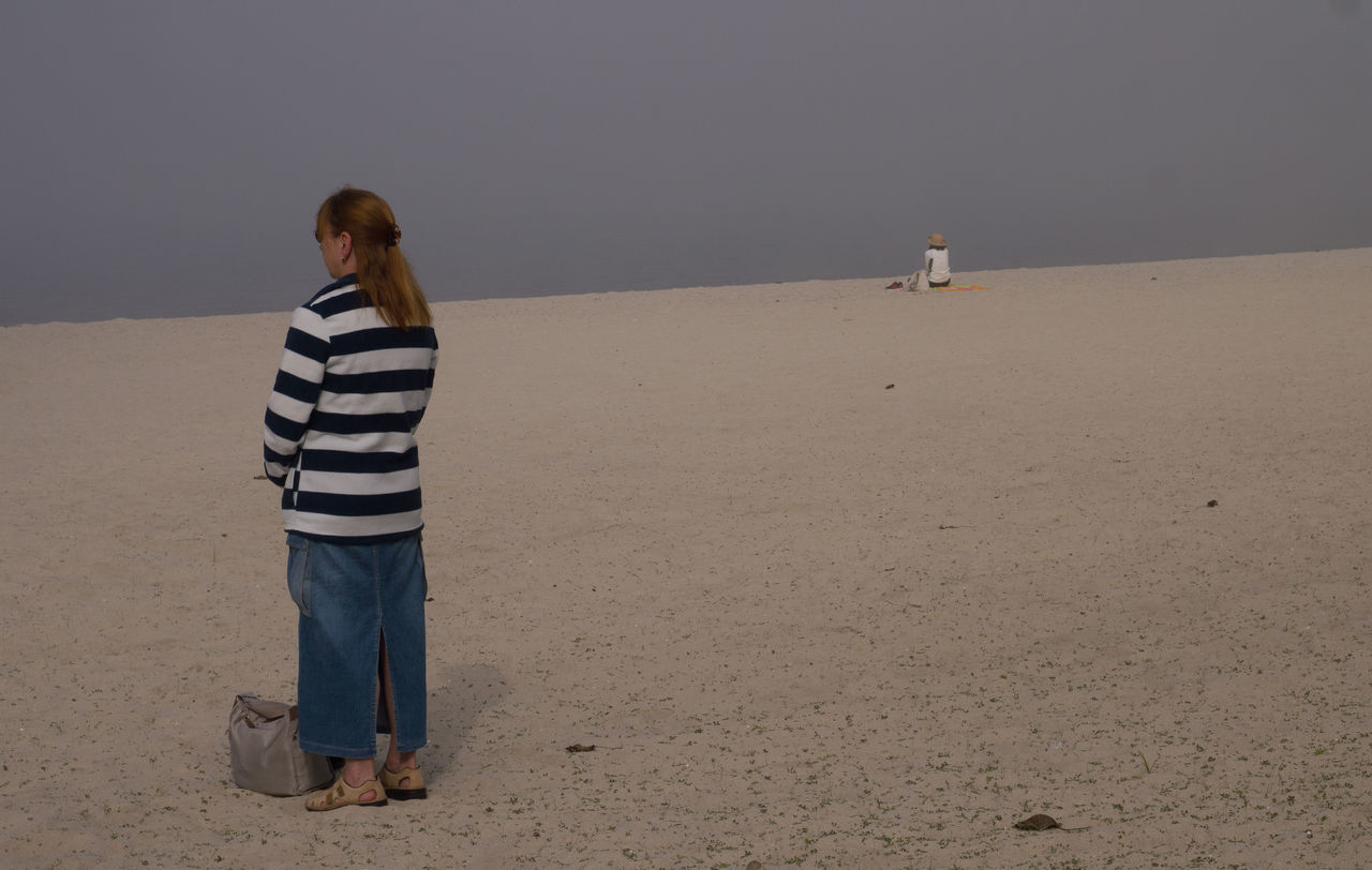 Beach Fog Foggy Day Nature People Rear View Sand Sea Standing Woman