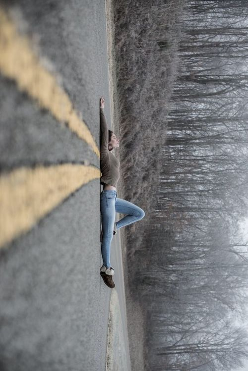 One Person Full Length Outdoors Young Adult Nature Self Portrait Road Laying Stretched Out Cold Bold Modern Abstract Morning Fog