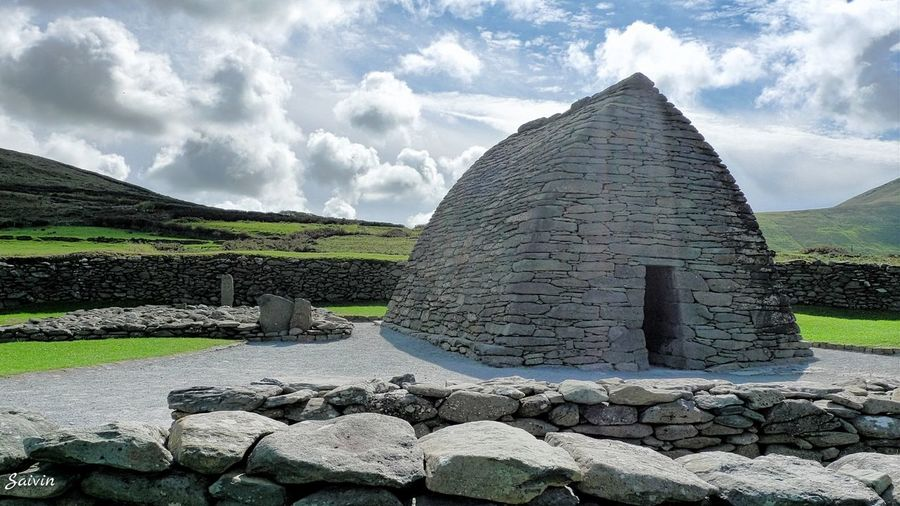 Ancient Civilization Arrangement Backgrounds Clouds Full Frame Galarus Oratory History Ladyphotographerofthemonth Large Group Of Objects No People Outdoors Pebble Religion Showcase: February Spirituality Stack Stone Stone - Object Stone Wall The Architect - 2016 EyeEm Awards