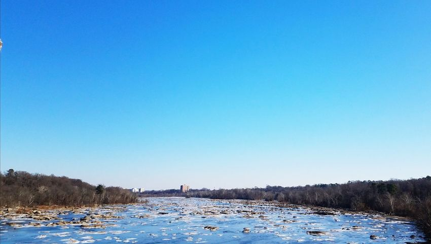 James River Freeze East View Snow Winter Cold Temperature No People Lake Clear Sky Nature Sunny Water Polar Climate Pinaceae Mountain Landscape Tranquility Day Tree Outdoors Beach Blue Scenics