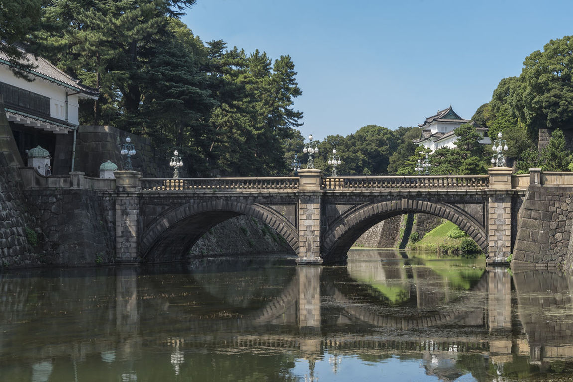 Double bridge or Nijobashi bridge in Tokyo Imperial Palace, Japan Architecture Bridge - Man Made Structure Building Exterior Built Structure Clear Sky Connection Double Bridge Historical Building Imperial Palace Japan Landmark Monarchy Nijobashi No People Outdoors Reflection Royal Residence Royalty Sky Tokyo Travel Travel Destinations Travel Photography Tree Water
