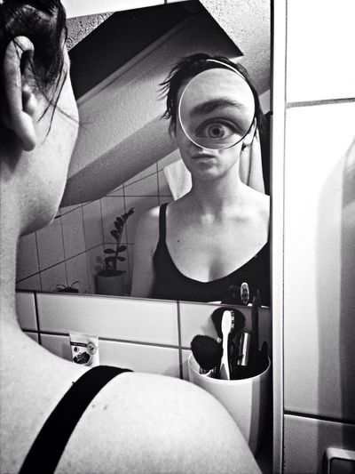 EyeEm Best Shots Notes From The Underground Blackandwhite Girl Black And White Photography Surrealism Girl And Mirror Mirror Looking In The Mirror