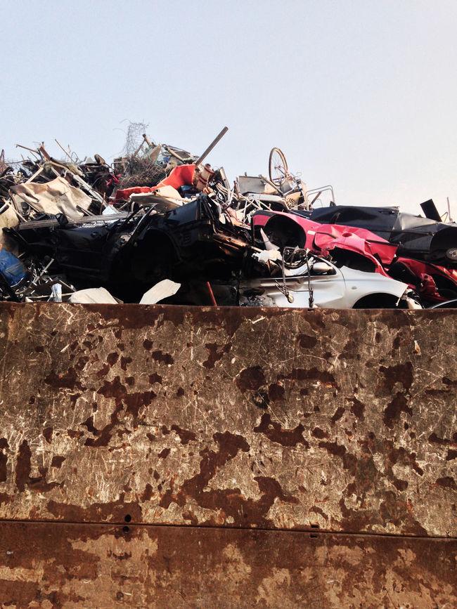 Auto Car Clear Sky Eisen Industry Iron Junk Junkyard Outdoors Rost Rust Schrott Schrottplatz