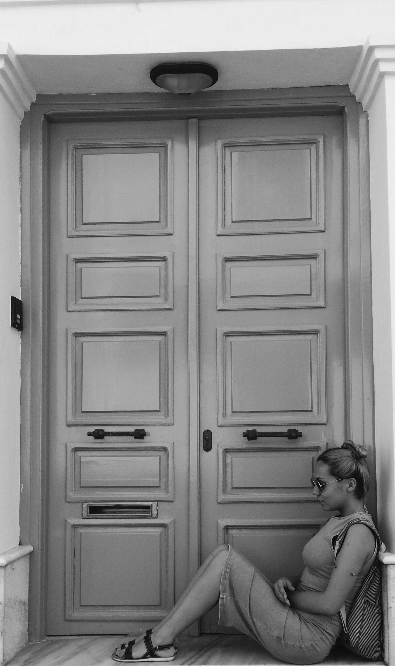 Iamanathenian Athens Greece Plaka, Athens Blackandwhite Girl Walking Around Door BlueHair Sitting Check This Out