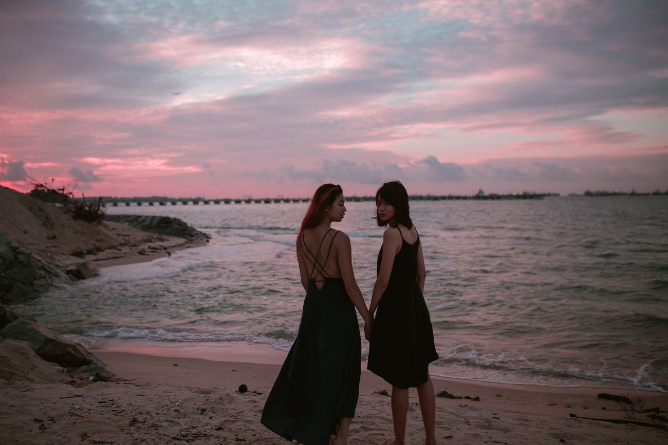 Neptune's Daughters Beach Sunset Only Women Two People Togetherness People Friendship Young Women Outdoors Sky Sand Water Fine Art Photography Quiet Beautiful People Women Around The World Portrait Of A Woman Portrait Photography Beautiful Woman Beauty In Nature Pink Pink Sunset Pink Sky EyeEm Selects