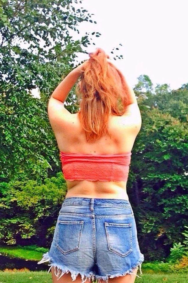Springtime Park Girl Tubetop Short Shorts Blonde Daisydukes Highwaisted Scenery