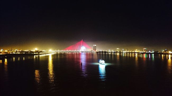 Water Illuminated Night Reflection Travel Destinations Tourism River Waterfront Dark Scenics Tranquility Tranquil Scene Outdoors Bridge View Sunwheel Scape The Nigth Traveling Wandering Around Aimlessly Beauty In Nature Non-urban Scene Solotraveler
