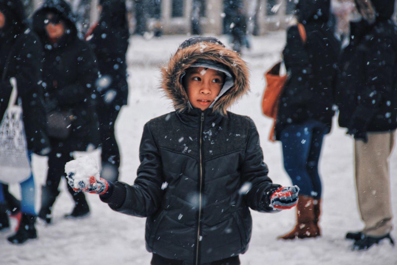 Beautiful stock photos of schneemann, winter, one person, snow, warm clothing