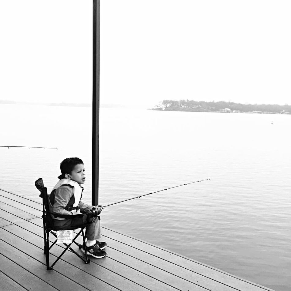 Sitting Full Length One Person Lake Day Outdoors Childhood Fishing Solitude Patience Lake Brownwood Texaslife Monochrome Photography
