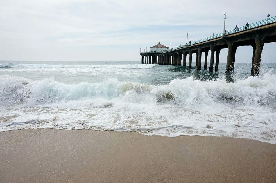 Water_collection Boardwalk Beachphotography Southern California Outdoor Photography Wooden Structure Pacific Ocean Horizon Over Water Beauty In Nature Travel Destinations Waves Waves Crashing Waves Splashing Unedited
