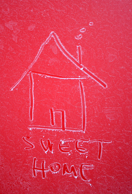 home sweet home Backgrounds Close-up Day Frost Full Frame HandPainted Home Sweet Home House Shape Ice Indoors  No People Red Red Winter