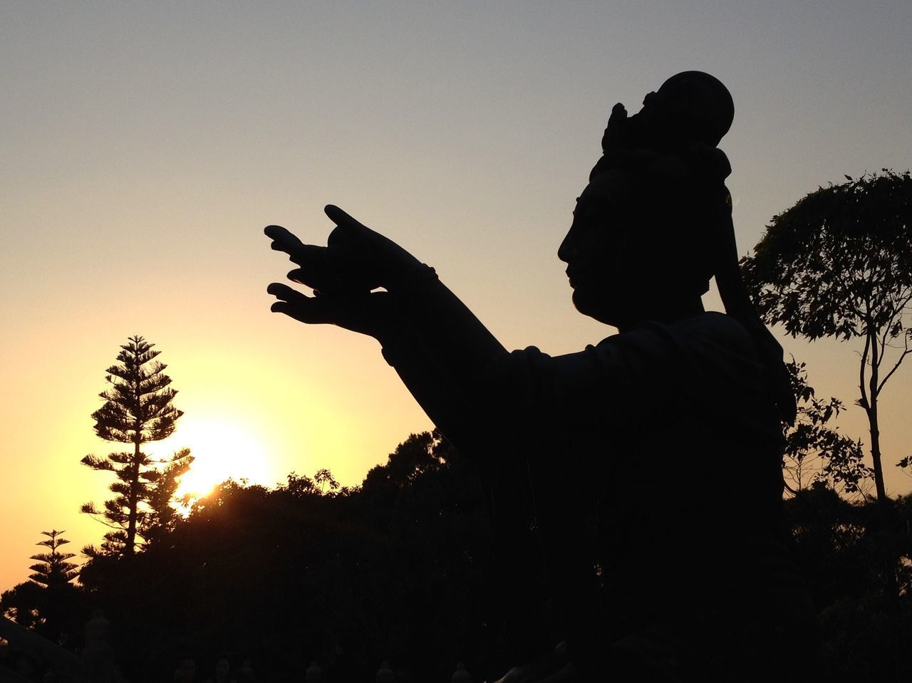silhouette, sunset, one person, sky, outdoors, nature, real people, childhood, men, clear sky, one man only, human hand, mammal, people, day