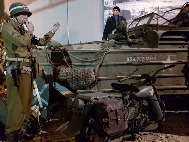 Overlord Museum, Colleville-sur-mer, Normandy, France, July 2017 D-Day Operation Overlord Overlord Museum Soldiers Education Exhibition Exhibits History Land Vehicle Mode Of Transport Museum Overlord Transportation
