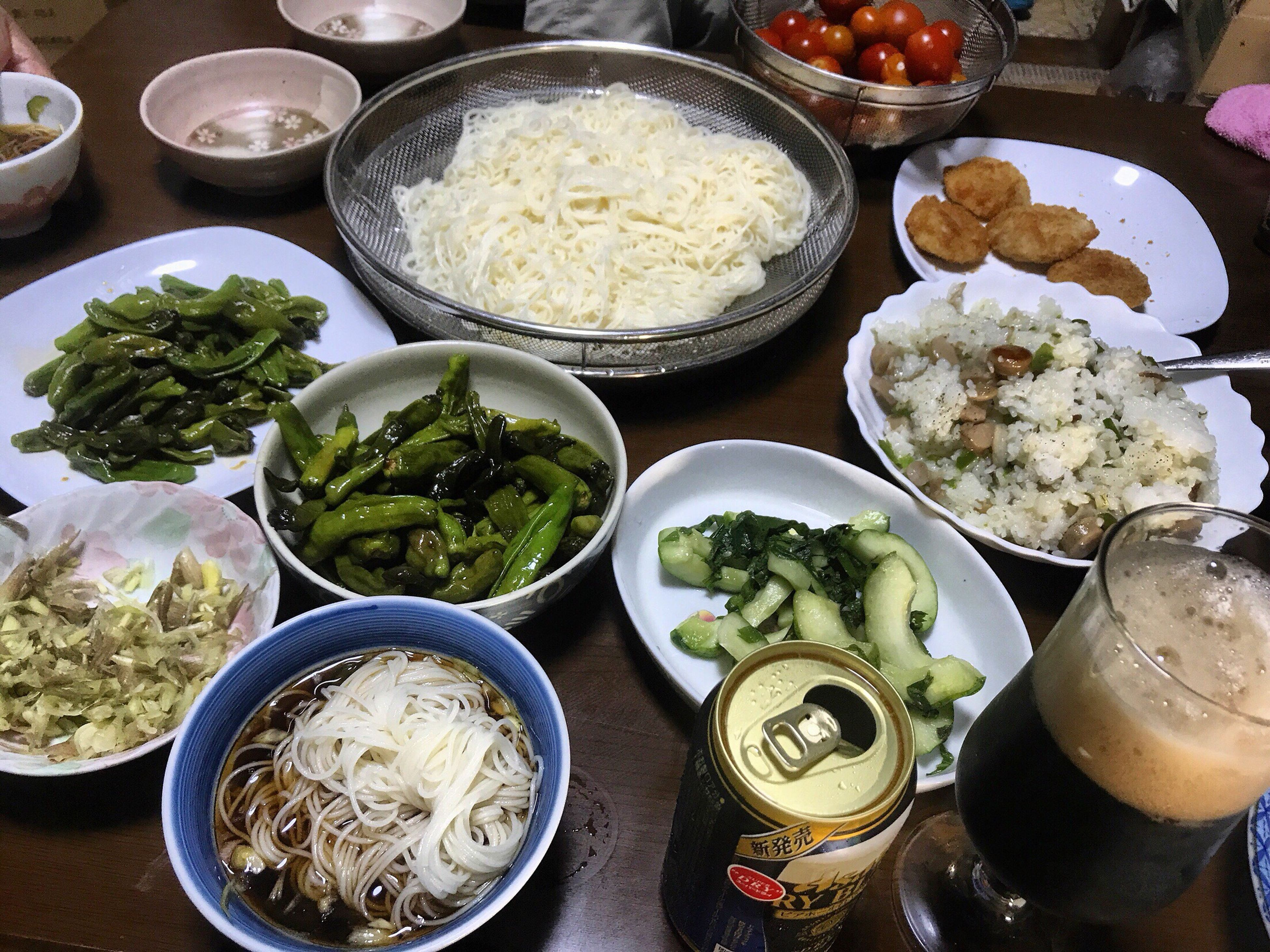 food and drink, bowl, food, plate, vegetable, table, freshness, healthy eating, salad, high angle view, indoors, variation, ready-to-eat, serving size, no people, mashed potatoes, day